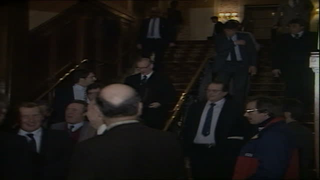 london: int cms robert maxwell chatting to club chairmen after meeting members down steps into corridor after meeting video ex eng/libytv tx... - meeting stock videos & royalty-free footage