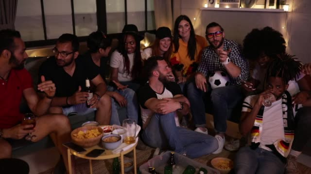 soccer fans cheering at home - world championship stock videos and b-roll footage