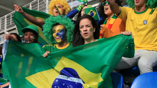 soccer fans cheering brazil but feeling disappointed because they missed - hand fan stock videos and b-roll footage