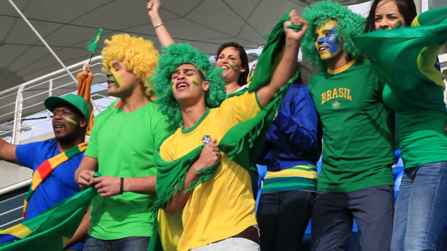 soccer fans singing the brazil national anthem - singing contest stock videos and b-roll footage