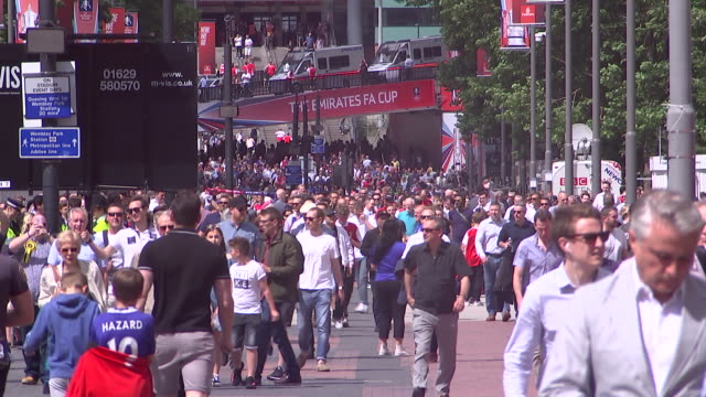 soccer fans walking outsideêwembleyêstadium - healthcare and medicine or illness or food and drink or fitness or exercise or wellbeing stock videos & royalty-free footage