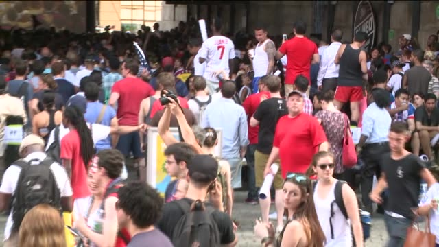 Soccer fans watch team USA play Belgium in 2014 FIFA World Cup game