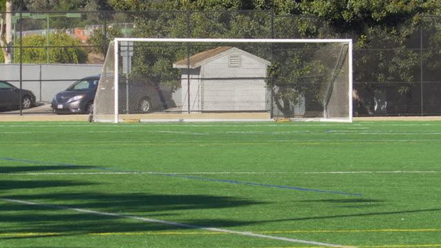soccer football goal on a turf grass field. - slow motion - football feld stock-videos und b-roll-filmmaterial