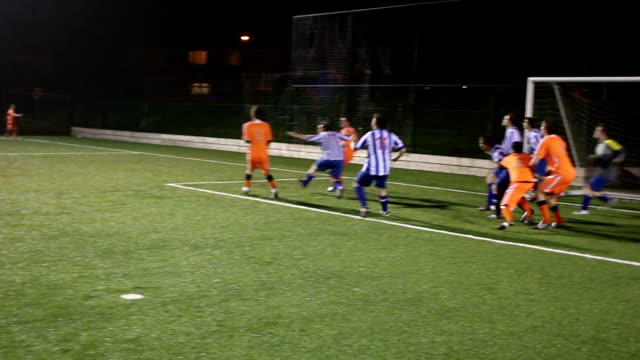 soccer / football match - scoring goal from a corner - scoring a goal stock videos and b-roll footage