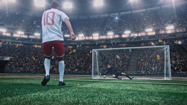 soccer game with goalkeeper - kicking stock videos & royalty-free footage