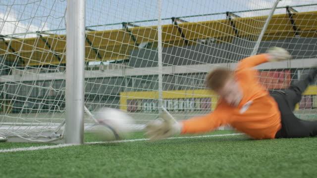 soccer goal kick training - goalkeeper stock videos & royalty-free footage