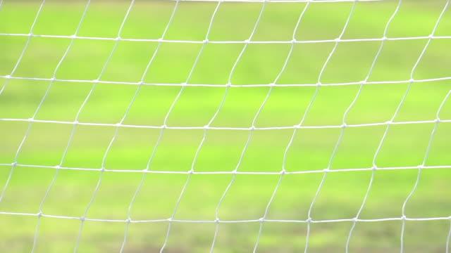 Soccer goal net moving in the breeze. - Slow Motion - filmed at 240 fps