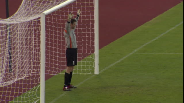 ha ws soccer goalie diving to block penalty kick that makes it into goal / sheffield, england, uk - goalkeeper stock videos & royalty-free footage