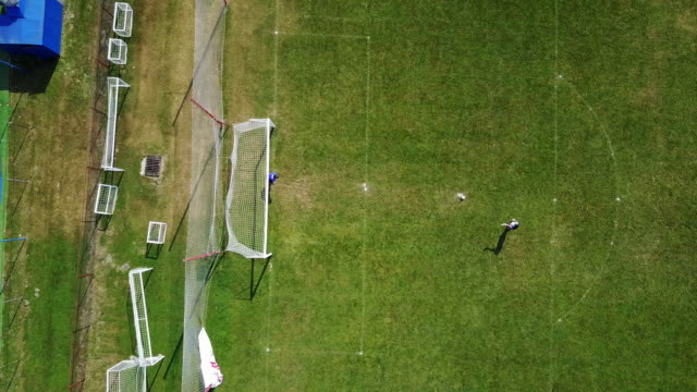 soccer goalkeepers - penalty kick, bird eye view - goalkeeper stock videos & royalty-free footage