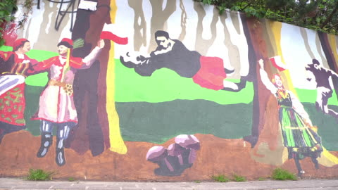 ws soccer graffiti / mural painting - eastern european culture stock videos & royalty-free footage