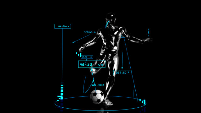 3d soccer kick man with technical data - record breaking stock videos & royalty-free footage