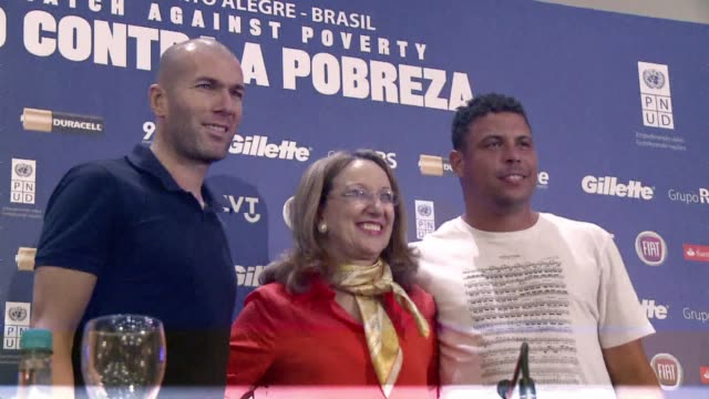 soccer legends ronaldo and zinedine zidane are kicking up their good will with a charity match against poverty wednesday organized by the united... - alegre stock videos & royalty-free footage