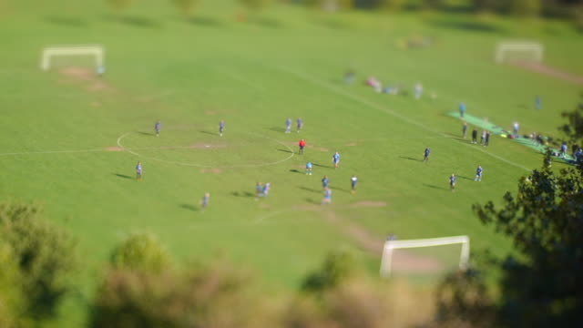 soccer match - ball in the face - tilt shift stock videos & royalty-free footage