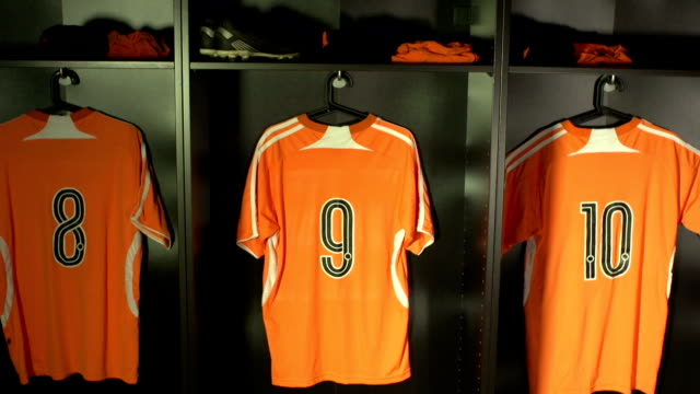 soccer or football locker / changing room, crane (sports uniform) - shirt stock videos and b-roll footage