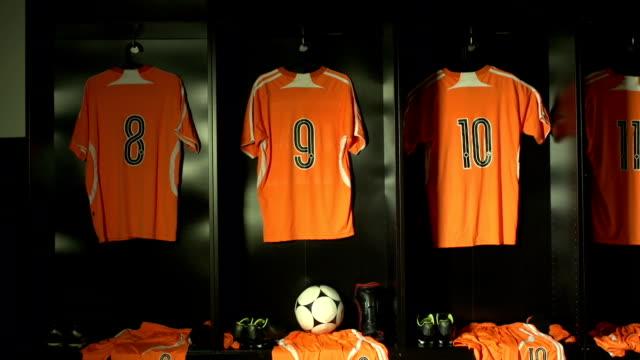soccer or football locker / changing room (sports kit) - locker room stock videos and b-roll footage
