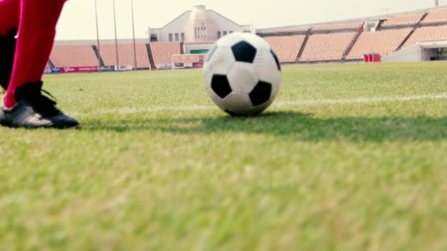 soccer or football player standing with ball on the field for kick the soccer ball at football stadium - kicking stock videos & royalty-free footage