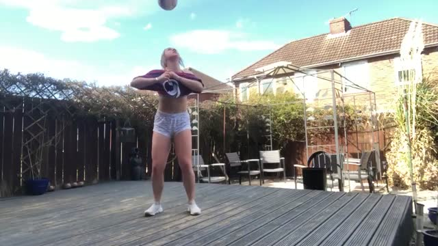 """soccer player charlotte potts captured video of her attempt to take part in the online balancing feat called the """"t-shirt challenge"""" at her home in... - 18 19 years stock videos & royalty-free footage"""
