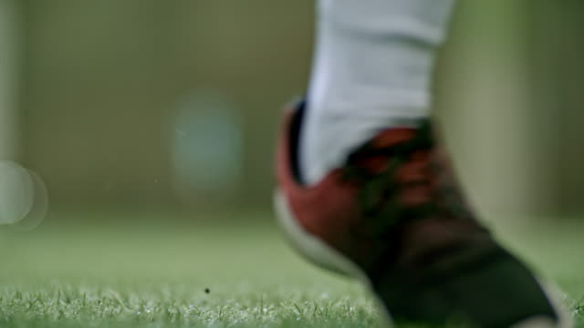 cu of soccer player kicking ball - women's football stock videos & royalty-free footage