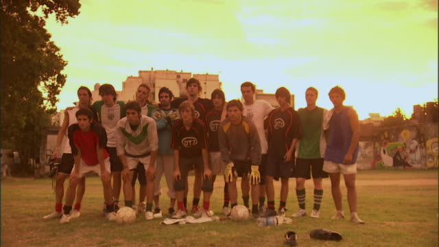 CU, PAN, soccer players posing on  field, Buenos Aires, Argentina