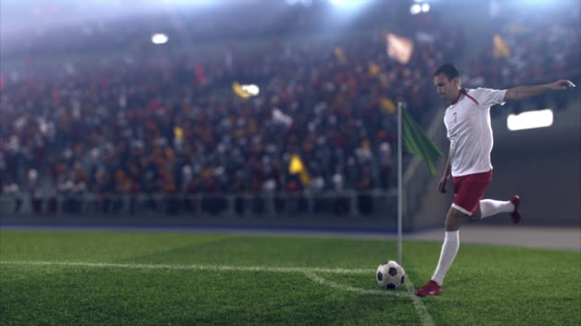 soccer: professional player performs a corner kick - kicking stock videos & royalty-free footage