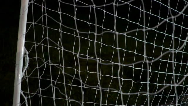 Soccer Slow Motion Concept of the Ball flying into Goal Ne