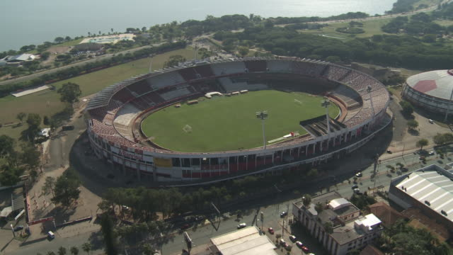 A soccer stadium borders the coast of Porto Alegre, Brazil.