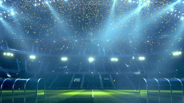 Soccer stadium confetti and lights