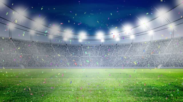 soccer stadium lights and confetti celebrate - stadium stock videos & royalty-free footage