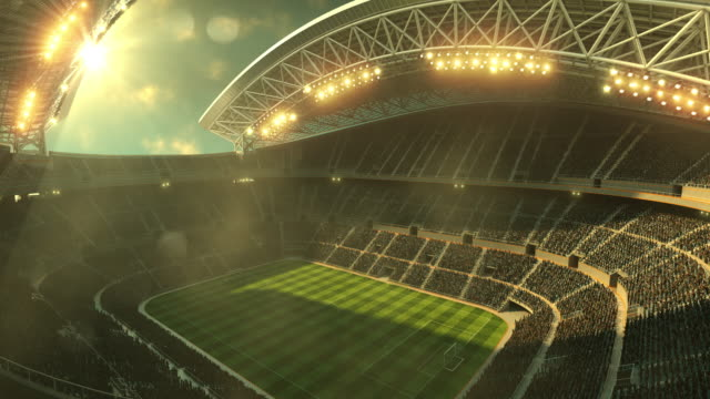 Soccer stadium with moving lights