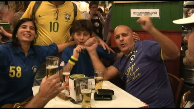 soccer team cheering and singing in a bar / rio de janeiro, brazil - 2010 stock videos & royalty-free footage