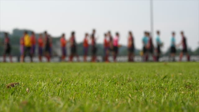 Soccer Team Playing on Soccer Field. Sports Competition Concept Background