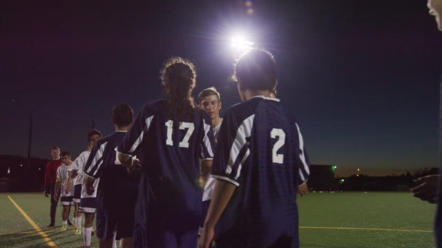 soccer teams shaking hands after a game - football strip stock videos & royalty-free footage
