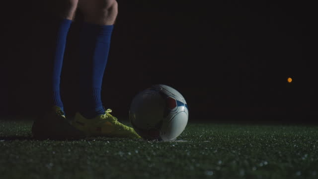 soccer training on playing field at night - kicking stock videos & royalty-free footage