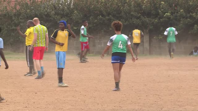 soccer without borders in uganda trains young refugees in uganda's capital kampala footballing skills in addition to other life skills. footage shows... - kampala stock-videos und b-roll-filmmaterial