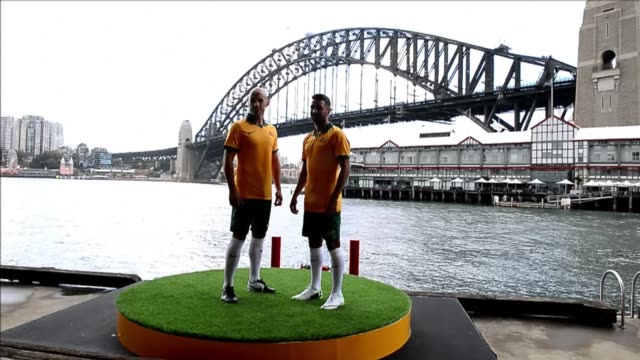socceroos players model the australian kit for the 2014 fifa world cup in brazil. clean : football australia unveils team kit for br on february 17,... - australian national team stock videos & royalty-free footage