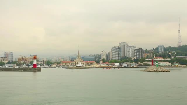 vídeos y material grabado en eventos de stock de sochi vista a la ciudad desde el mar - sochi