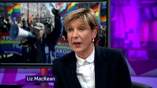 violent attacks on gay people england london gir int liz mackean live studio interview sot - liz mackean stock videos & royalty-free footage