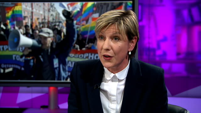 violent attacks on gay people liz mackean live studio interview sot - liz mackean stock videos & royalty-free footage