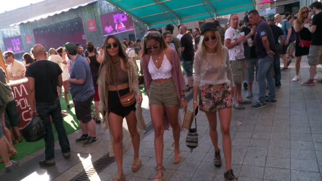 Social and fashion influencers Ines Arroyo Coco Constans and Andrea Belver are seen at Sonar 2017 Music Festival held at the Fira Barcelona on June...