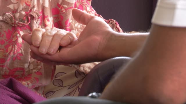 most councils will not have enough care home places in five years' time r20081524 int anonymous shots of elderly people in care home - anonymous stock videos and b-roll footage