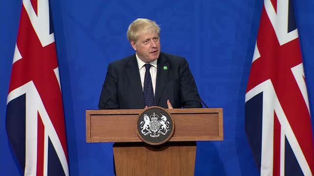 boris johnson, rishi sunak and sajid javid press conference; press conference part 9 of 13 england: london: westminster: downing street briefing... - war and conflict stock videos & royalty-free footage