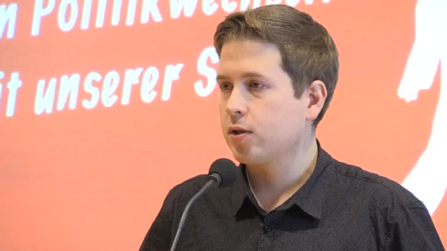 Social Democrat party youth wing's leader Kevin Kühnert reiterated in a press conference his opposition to the SPD's coalition project with the...