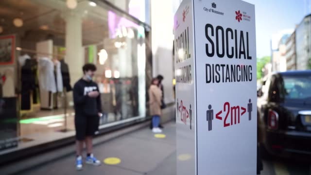 a social dieting sign out selfridges on june 15 2020 in london england the british government have relaxed coronavirus lockdown laws significantly... - body concern stock videos & royalty-free footage