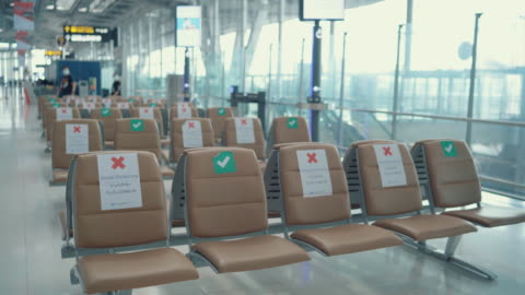social distancing in airport - holiday event stock videos & royalty-free footage