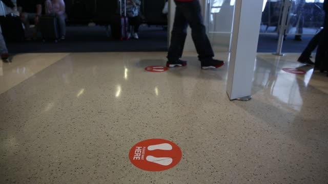 social distancing information sign on dallas airport floor in dallas texas us on monday september 28 2020 - information sign stock videos & royalty-free footage