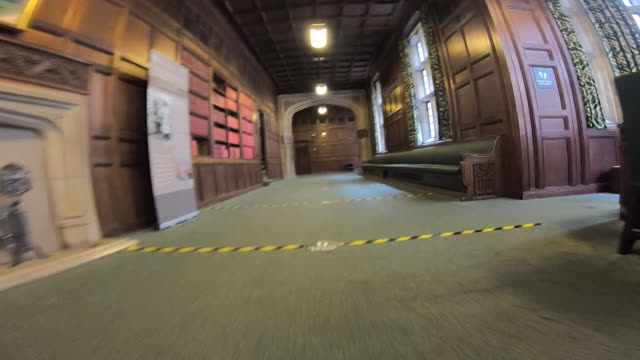 e social distancing markers showing 2 metre gap in the corridors of houses of parliament during coronavirus pandemic showing route mp's use to get... - international landmark stock videos & royalty-free footage