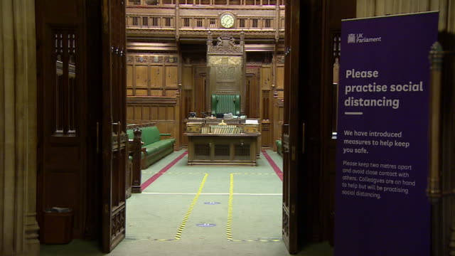 e social distancing signs and hand sanitizer in the houses of parliament during coronavirus pandemic - international landmark stock videos & royalty-free footage