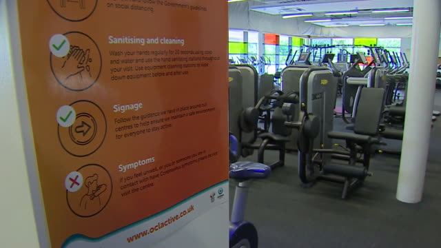 social distancing signs in gym in oldham as they prepare to reopen following coronavirus lockdown - gym stock videos & royalty-free footage