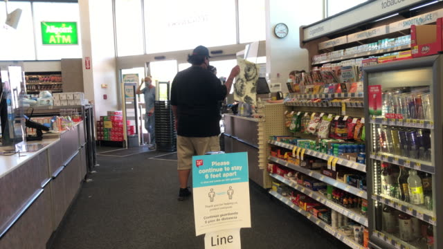 social distancing warning sign in the store. - new mexico stock videos & royalty-free footage