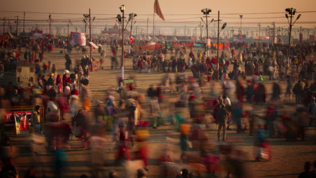 social gathering area at the kumbh mela festival - india stock videos & royalty-free footage